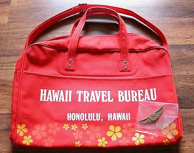 RARE!! Hawaii Travel Bureau 80's Vintage Travel Carry On Bag w/plastic badge