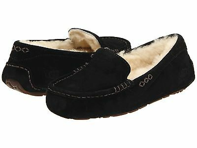 Women's Shoes UGG Ansley Moccasin Slippers 3312 Black 6 Brand New in Box