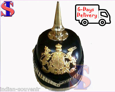 German Pickelhaube Helmet Prussian LEATHER Helmet Spiked Officer helmet