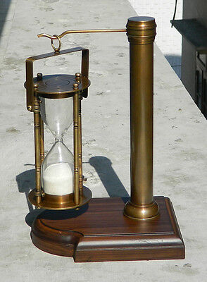 VIictorian Brass Sand Timer Hour Glass With World Timer Calculator Antique Finis