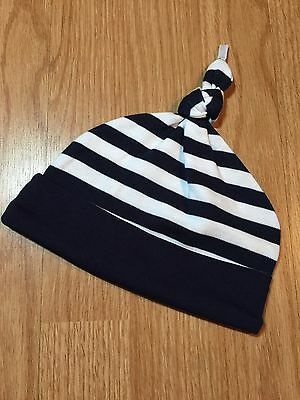 Baby Boys Navy White Stripped Hat Size 24 Months 100% Cotton Super Cute!