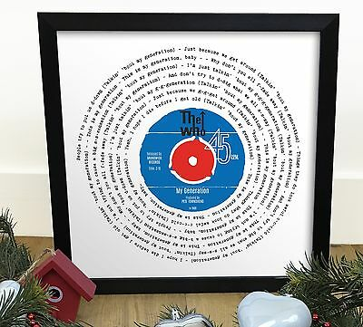 The Who My Generation | Vinyl Single 12 Inch LP Size Framed RETRO XMAS GIFT