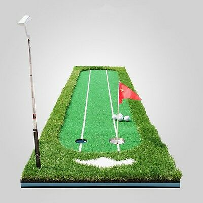 Golf Putting Green Practice Training Mat Indoor Putter Trainer With Hole Cups