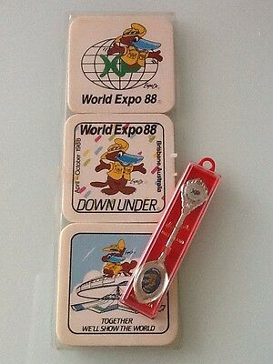 World Expo 88 Queensland Collectable Souvenir Teaspoon And Set Of Six Coasters