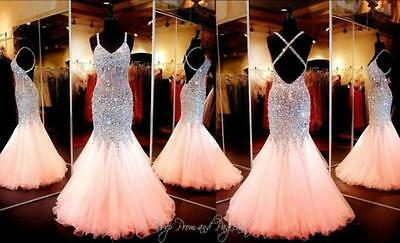 Sexy New Beaded Long Prom Dresses Formal Evening Party Ball Bridesmaid Gown