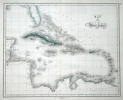 WEST INDIES, CARIBBEAN, Gall & Inglis original antique hand coloured map c1850