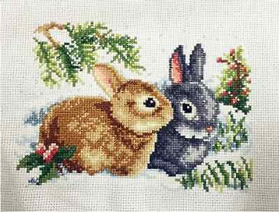 "New Cross stitch""Two Rabbits"" finished completed cross stitch decor gifts"