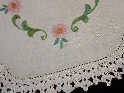 Vintage Doily Pink Daisies and Leaf Scrolls Hand Embroidered Linen