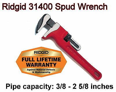 "Ridgid 31400 Red 12"" Spud Wrench. 3/8"" - 2-5/8"" Pipe Capacity."