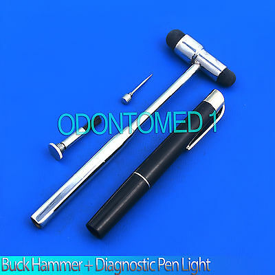 Neurological Percussion Reflex Buck Hammer + Diagnostic Pen light Penlight