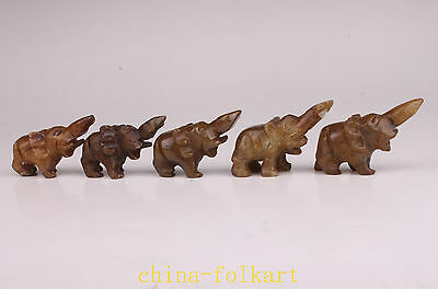 5 Jade Carved Lovable Elephant Family Figurines Gifts Vintage Collectable Old De