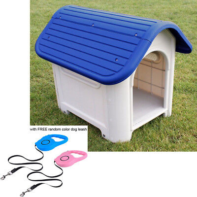 Pet/puppy Weather Proof Plastic Kennel Dog House Indoor Outdoor Free Dog Leash