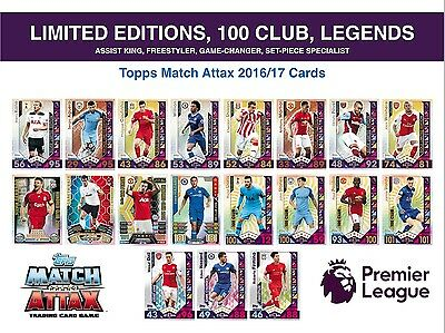 Topps EPL Match Attax 2016/17 LIMITED EDITION - 100 CLUB - LEGEND CARDS (16/17)