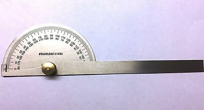 STAINLESS STEEL 0-180 DEGREE PROTRACTOR Measure Ruler Angle Gauge