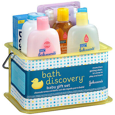 Johnson's Bath Baby Gift Set Lotion Powder Shampoo Bubble Diaper Swabs Wipes NEW
