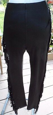 "80s Tight-Fitting Blk Fringed ""Wild West"" Stretch Pants sz S-M (24-34""w,30-38""h)"