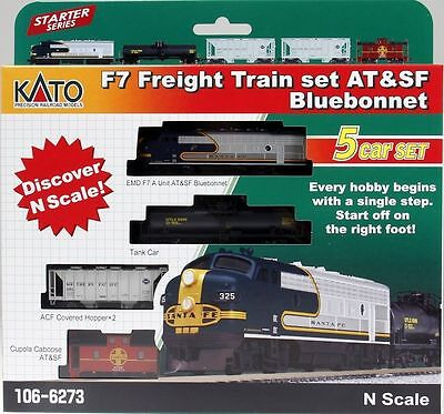Kato 1066273 N Scale ATSF F7A Freight Train Set Loco and 4 cars 106-6273 NEW