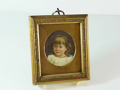 Extremely Fine Antique 1890 Signed Miniature Portrait Painting of a Young Girl