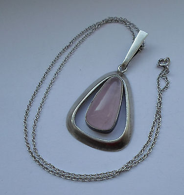 German AHB Silver 800 Modernist Pendant Necklace w Rose Quartz