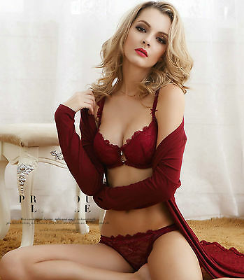 Sexy Wine Red Thin Cup Lace Flower Transparent Lingerie Knickers Briefs Bra Sets