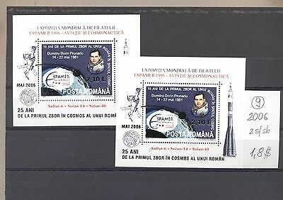 Romania 2006 MNH two s/sh.Space Owerprint.See scan.