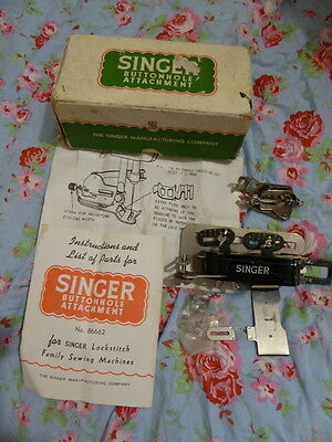 Singer button hole attachment No. 86662- Vintage with instruction books