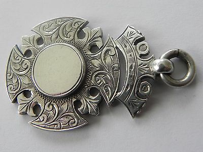 Antique Edwardian Sterling Silver Canterbury Cross Watch Fob Awards Medal 1910