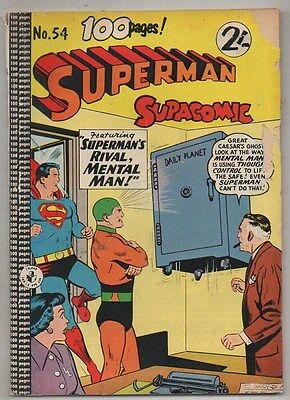 SUPERMAN SUPA COMIC No 54 COLOUR COMICS  VG 1950s
