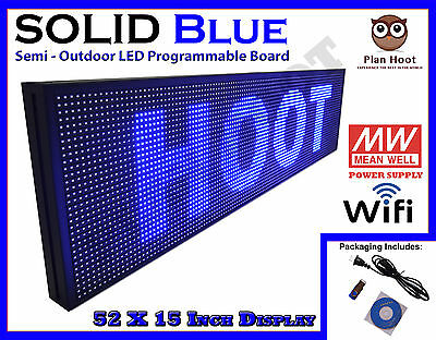 "Led Sign 52""x15"" Blue Colour Semi-Outdoor Programmable Scrolling Usb Wifi App"