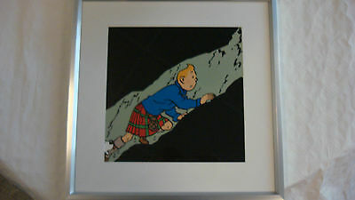 TINTIN Framed Picture  -  TINTIN Wearing a KILT in a Cave - 10333