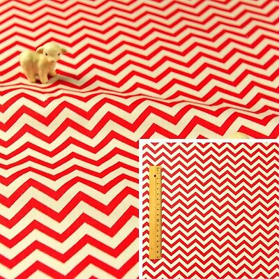 RED WHITE Meter/Fat Quarter/FQ 100% Cotton Fabric FQ Chevron Sewing Quilt Craft