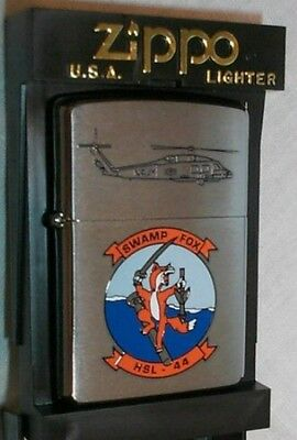 HSL 44 Helicopter Navy 2002 Squadron SWAMP FOX Zippo Lighter Mint in Box