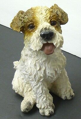 "JACK RUSSELL Dog Rough Statue brown white puppy HAND PAINTED 7"" x 4"" x 5"""