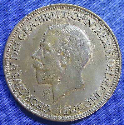 1929 ½d George V bronze Halfpenny in a nice high grade
