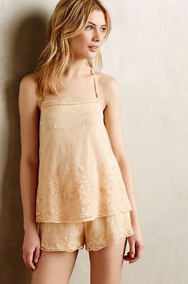 New Anthropologie Eloise Apricot Mesh Lace Camisole Tank Top Pajamas Embroidered