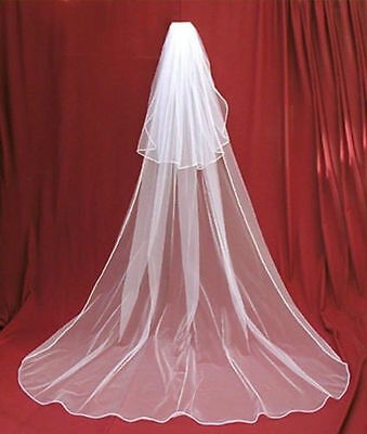 New 2T white/Ivory Long Wedding Bridal Veil Chapel Length With Comb in Stock