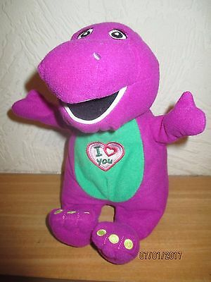 """Barney Soft Toy - Sings """"I Love You"""" Song- Approx 8"""" Tall - VG Condition"""