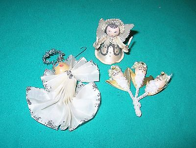 3 Vintage Pipe Cleaner Angel Figurines Spun Cotton Christmas Ornaments Japan