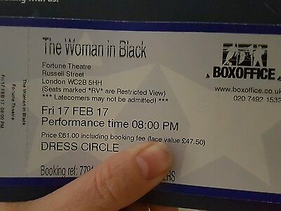 2 x tickets for Woman in Black 17 Feb Fortune Theatre London