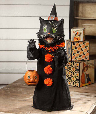 """Bethany Lowe Scaredy Black Cat Ghoul 28"""" Trick or Treater Halloween Figure"""
