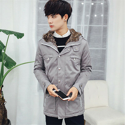 Men's Coat Casual Outwear Warm Cotton-padded Hooded Trench coat Long Jacket