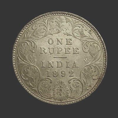 INDIA, British. VICTORIA, Empress. Silver RUPEE 1892  Bombay mint.