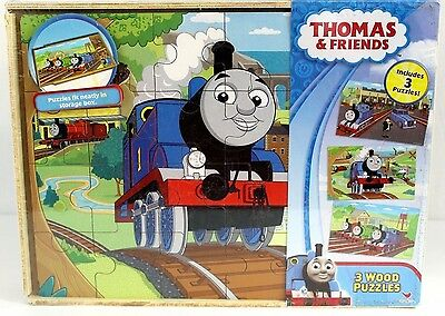 New~Thomas the Tank Engine 3 Wood Puzzles Wooden Train Friends 24 Pieces Trains