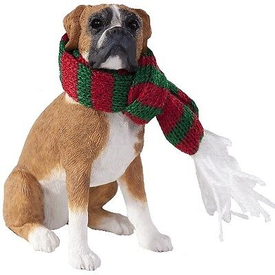 New Sandicast Sandicast Sitting Boxer, UC In Fawn Ornament