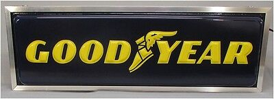 Vintage Goodyear Tire Lighted Display Sign Double Sided Embossed NOS