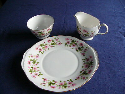 Vintage Queen Anne Bone China Pink Floral Cake Plate, Milk Jug and Sugar Bowl