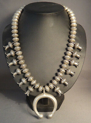 Old Pawn Coin Silver Beads Navajo Squash Blossom Necklace 412 g/14.5 oz