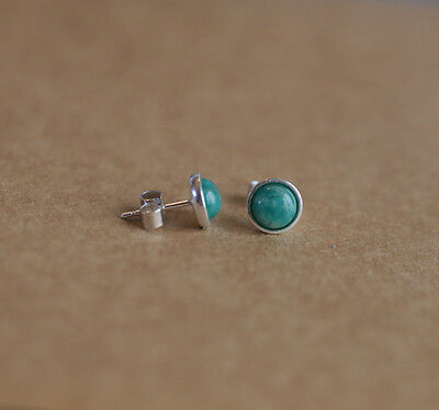 925 Sterling silver stud earrings with natural Russian Amazonite gemstones