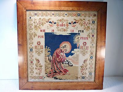 Antique Original Georgian Large Stunning Wool Sampler - Original Frame + Glass