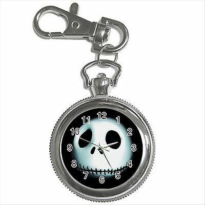 NEW* HOT JACK SKELLINGTON Silver Color Tone Key Chain Ring Watch Gift